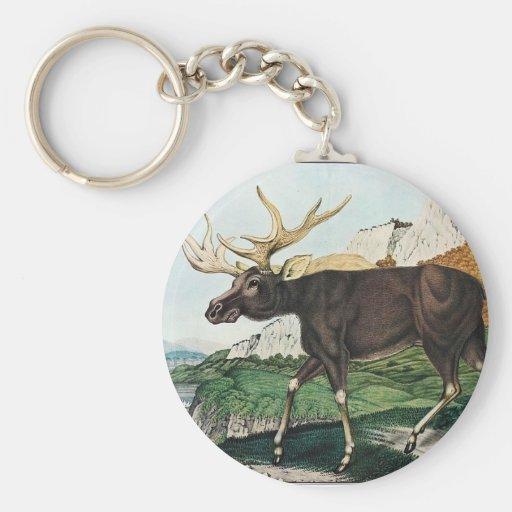 Vintage Elk Painting Keychain