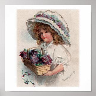 Vintage Ellen Clapsaddle Girl in Bonnet Poster