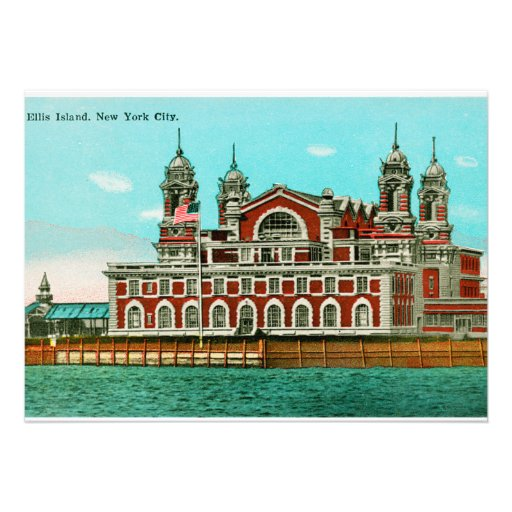 Vintage Ellis Island, New York City Personalized Announcements