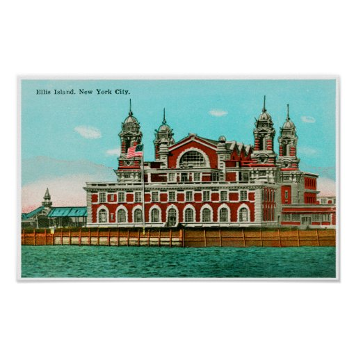 Vintage Ellis Island, New York City Poster
