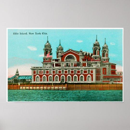 Vintage Ellis Island, New York City Poster