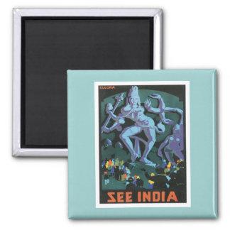 Vintage Ellora Caves India Square Magnet