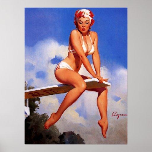 Vintage Elvgren Diving Board Swimmer Pin Up Girl Print