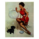 Vintage Elvgren Pin up Girl Blowing Bubbles Poster