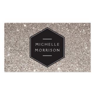 Vintage Emblem on Silver Glitter Business Card