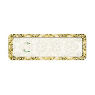 Vintage Embossed Metallic Gold Foil Floral Design Return Address Label