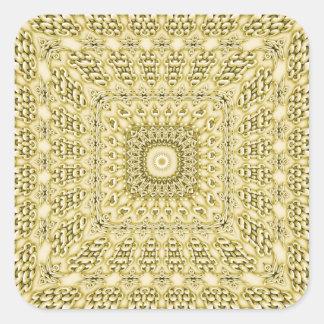 Vintage Embossed Metallic Gold Foil Floral Design Square Sticker