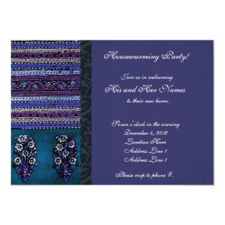 Vintage Embroidery Blue Housewarming Invitation