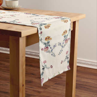 Vintage Embroidery Flowers Floral Table Runner