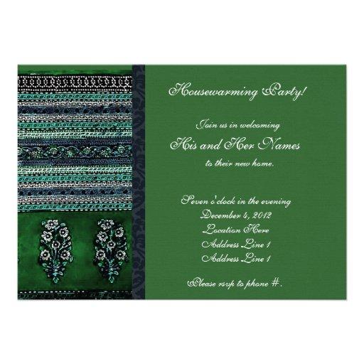 Vintage Embroidery Green Housewarming Invitation