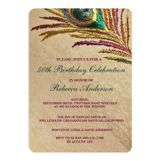 Vintage Embroidery Peacock Feather Birthday Party 13 Cm X 18 Cm Invitation Card