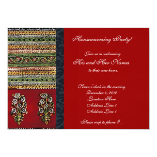 Vintage Embroidery Red Housewarming Invitation