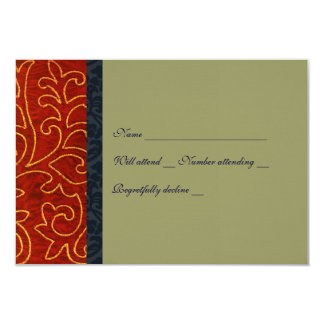 Vintage Embroidery Red Taupe rsvp with envelope 9 Cm X 13 Cm Invitation Card