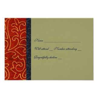 Vintage Embroidery Red Taupe rsvp with envelope Custom Invitation