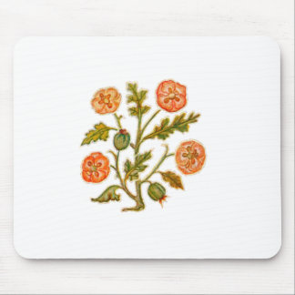 Vintage Embroidery Style Flowers Mouse Pad