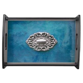 Vintage emerald background serving tray