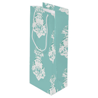 Vintage emerald background wine gift bag