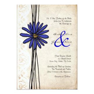 Vintage Emerald Blue Daisy Wedding Invitation