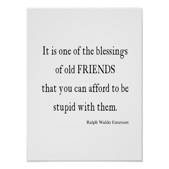 Vintage Emerson Friendship Blessing Quote Poster