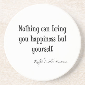 Vintage Emerson Happiness Inspirational Quote Coaster