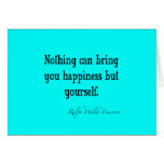Vintage Emerson Happiness Quote Neon Blue Teal