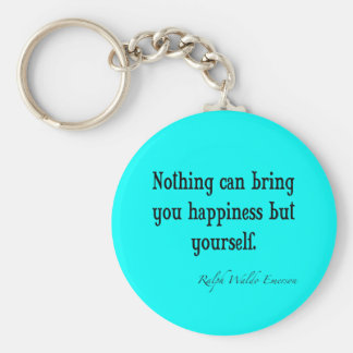 Vintage Emerson Happiness Quote Neon Blue Teal Basic Round Button Key Ring