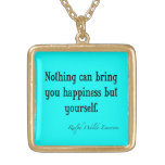 Vintage Emerson Happiness Quote Neon Blue Teal Personalized Necklace