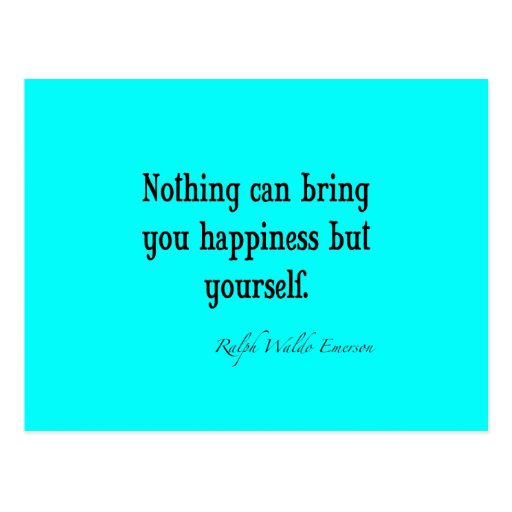 Vintage Emerson Happiness Quote Neon Blue Teal Post Card
