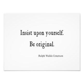 Vintage Emerson Inspirational Be Original Quote Photograph