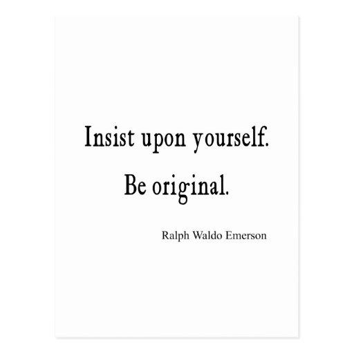 Vintage Emerson Inspirational Be Original Quote Postcards