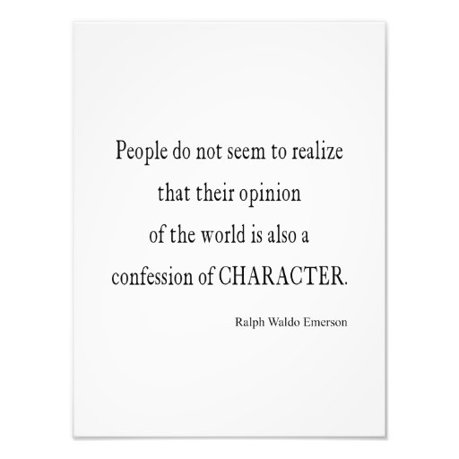 Inspirational Quotes On Character: Vintage Emerson Inspirational Character Quote Photograph