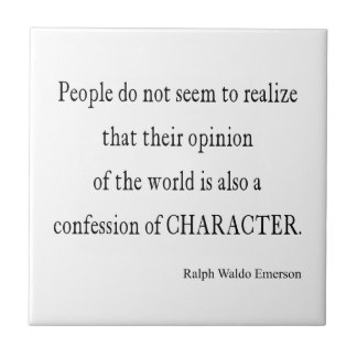 Vintage Emerson Inspirational Character Quote Small Square Tile
