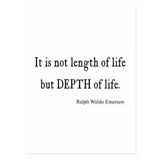 Vintage Emerson Inspirational Depth of Life Quote Post Card