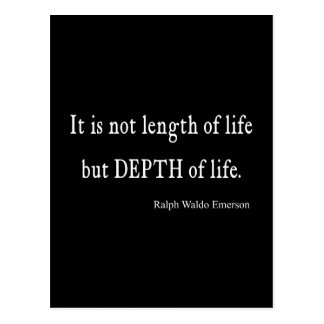Vintage Emerson Inspirational Depth of Life Quote Postcard