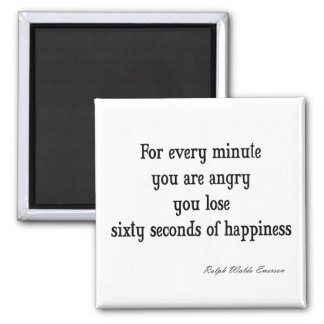 Vintage Emerson Inspirational Happiness Quote Square Magnet