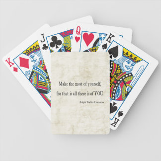 Vintage Emerson Inspirational Quote Bicycle Playing Cards