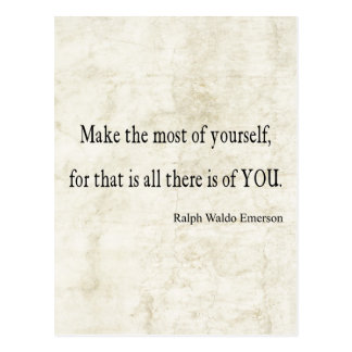 Vintage Emerson Inspirational Quote Postcard