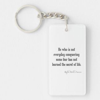 Vintage Emerson Inspirational Secret of Life Quote Double-Sided Rectangular Acrylic Key Ring