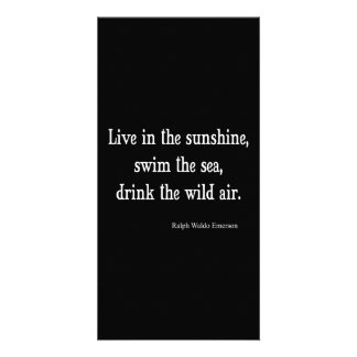 Vintage Emerson Live in Sunshine Quote Personalized Photo Card