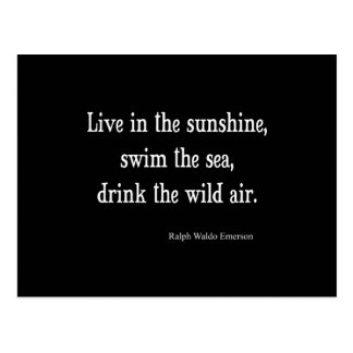 Vintage Emerson Live in Sunshine Quote Postcard