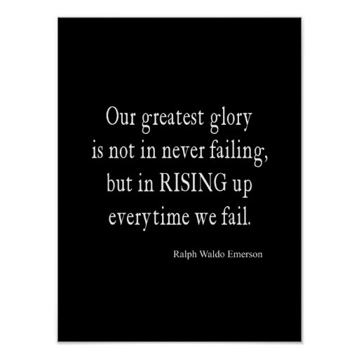 Vintage Emerson Overcoming Failure Quote Print