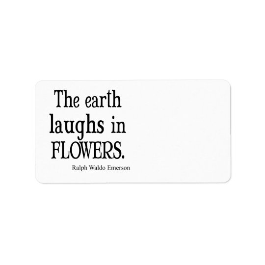 Vintage Emerson The Earth Laughs in Flowers Quote Address Label