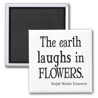 Vintage Emerson The Earth Laughs in Flowers Quote Square Magnet