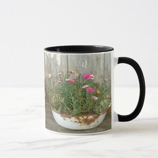 Vintage Enamel Dish Pan & Flower's Mug