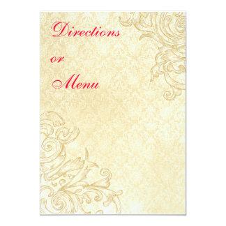 Vintage Enclosure or Menu Card 13 Cm X 18 Cm Invitation Card