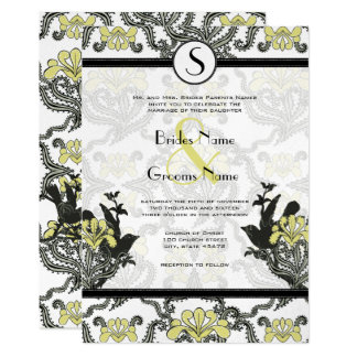 Vintage Endive Iris Love Birds Wedding Invites