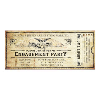 Vintage Engagement Party Ticket Invitation