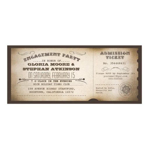 vintage engagement party ticket typography design custom announcement