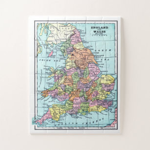 Vintage England and Wales Map Jigsaw Puzzle