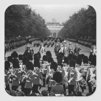 Vintage England Guards returning along the Mall 70 Square Sticker